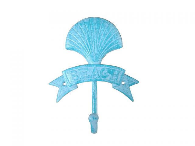 Rustic Light Blue Whitewashed Cast Iron Seashell Beach Hook 8