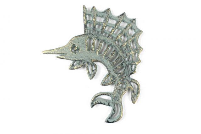Antique Seaworn Bronze Cast Iron Marlin Trivet 8