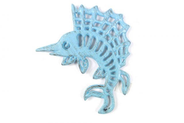 Rustic Light Blue Cast Iron Marlin Trivet 8
