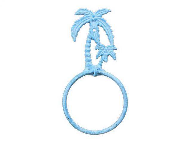 Light Blue Whitewashed Cast Iron Palm Tree Towel Holder 9