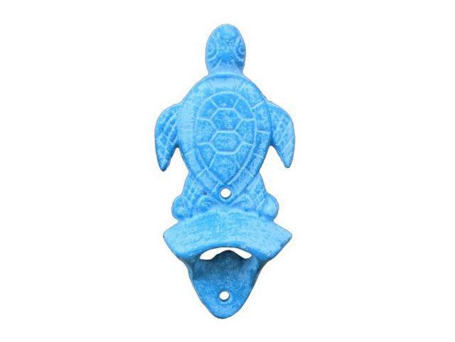 Light Blue Whitewashed Cast Iron Wall Mounted Sea Turtle Bottle Opener 6