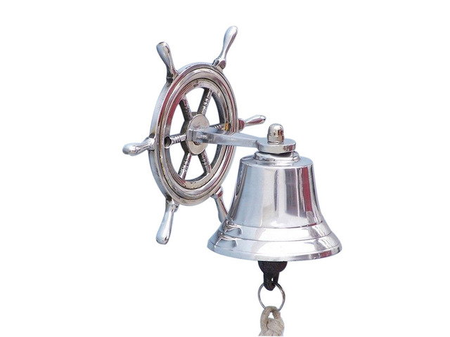 Chrome Hanging Ship Wheel Bell 7