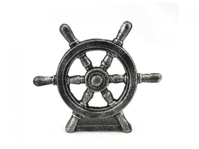 Antique Silver Cast Iron Ship Wheel Door Stopper 9