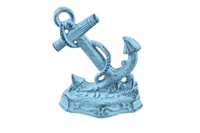 Dark Blue Whitewashed Cast Iron Anchor Door Stopper 8