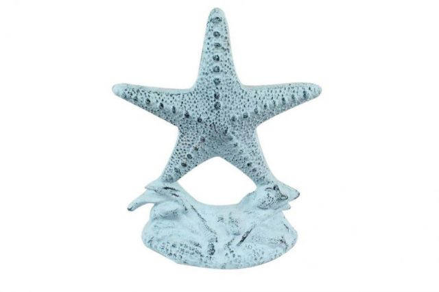 Set of 2- Dark Blue Whitewashed Cast Iron Starfish Book Ends 11