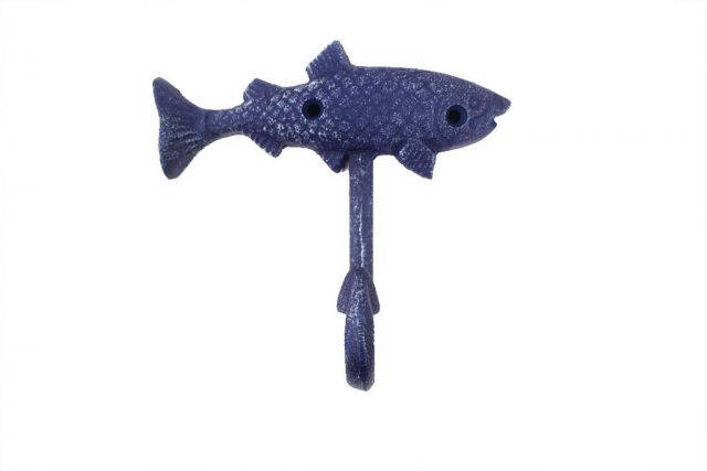 Rustic Dark Blue Cast Iron Fish Key Hook 6