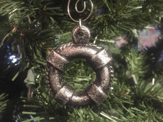 Antique Silver Cast Iron Lifering Christmas Ornament 5