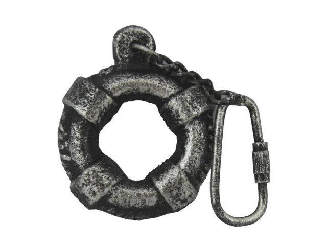 Antique Silver Cast Iron Lifering Key Chain 5