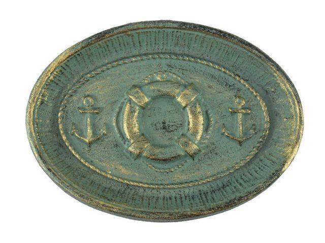Antique Bronze Cast Iron Decorative Anchors And Lifering Bowl 8