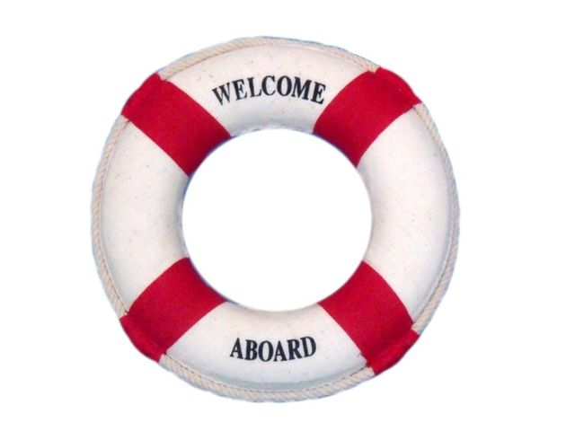 Red Welcome Aboard Decorative Life Ring 6