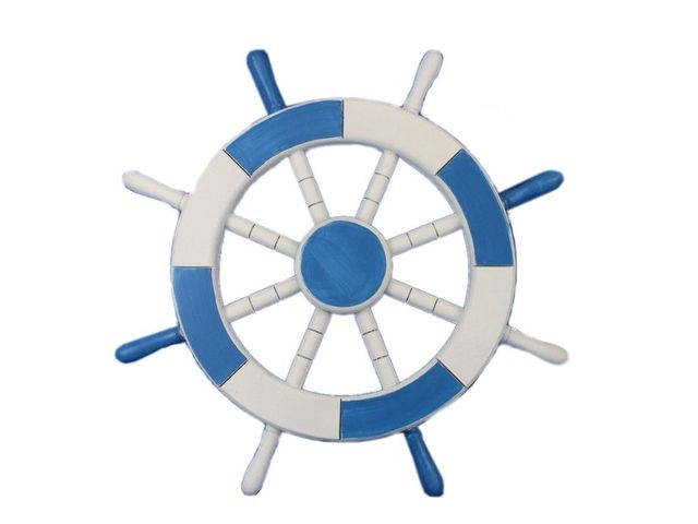 Light Blue and White Decorative Ship Wheel 18