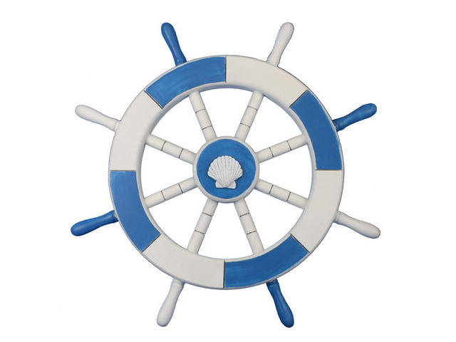 Light Blue and White Decorative Ship Wheel with Sea Shell 18