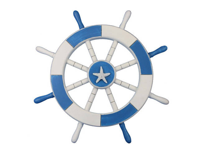 Light Blue and White Decorative Ship Wheel with Starfish 18