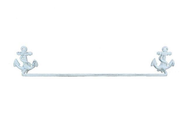 Whitewashed Cast Iron Anchor Bath Towel Holder 27