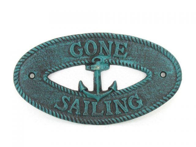 Seaworn Blue Cast Iron Gone Sailing with Anchor Sign 8
