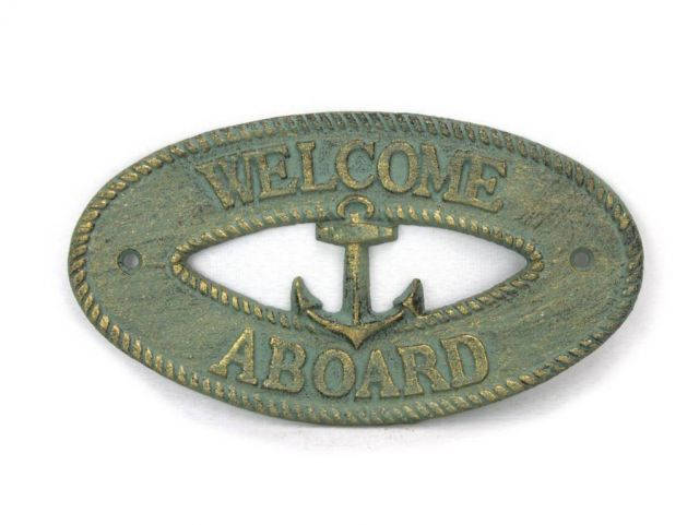 Antique Bronze Cast Iron Welcome Aboard with Anchor Sign 8