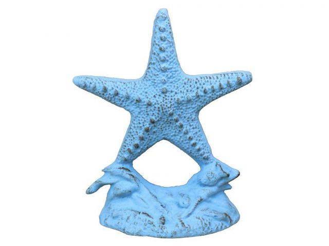 Rustic Light Blue Cast Iron Starfish Door Stopper 11