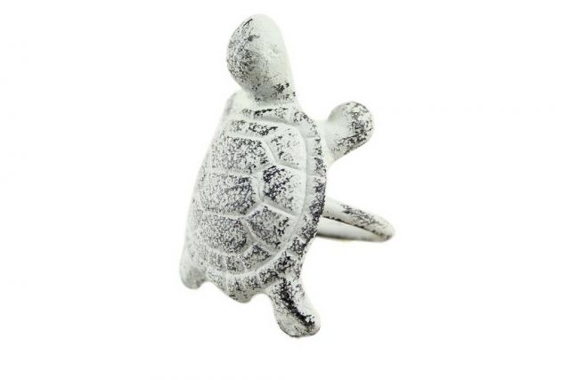 Rustic Whitewashed Cast Iron Turtle Napkin Ring 3 - Set of 2