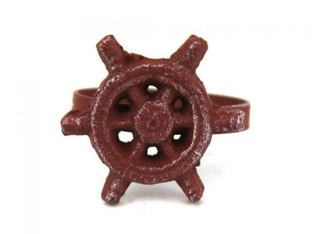 Red Whitewashed Cast Iron Ship Wheel Napkin Ring 2 - set of 2