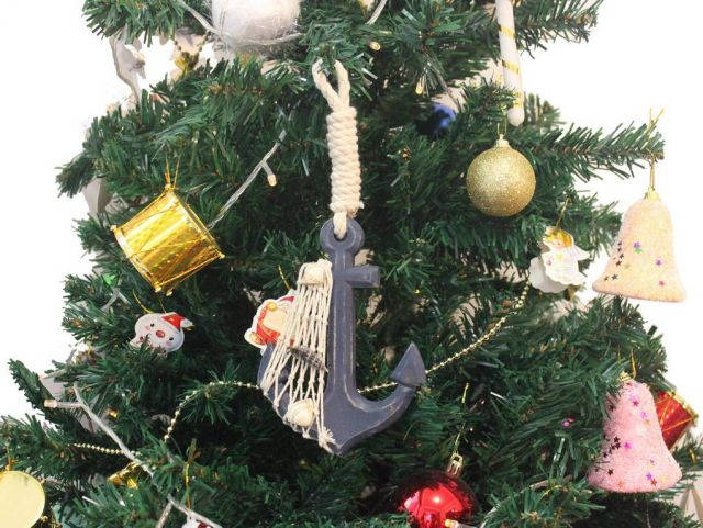 Wooden Rustic Decorative Blue Anchor Christmas Tree Ornament