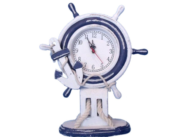 Wooden Rustic Ship Wheel Clock with Rope Pulley and Anchor 14