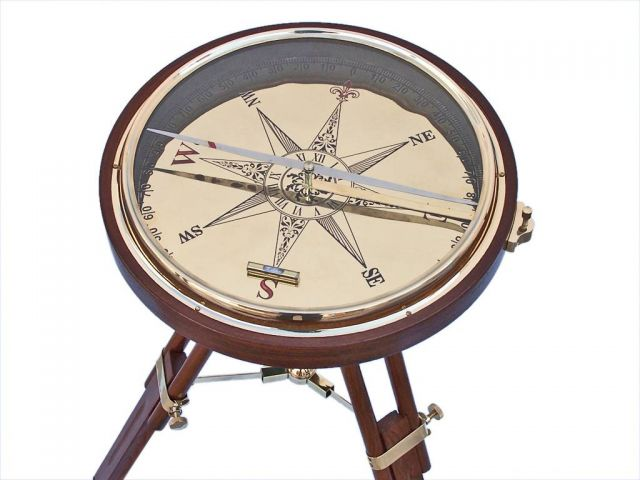 Decorative Wooden Brass Compass Table 23