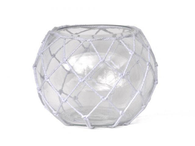 Clear Japanese Glass Fishing Float Bowl with Decorative White Fish Netting 10