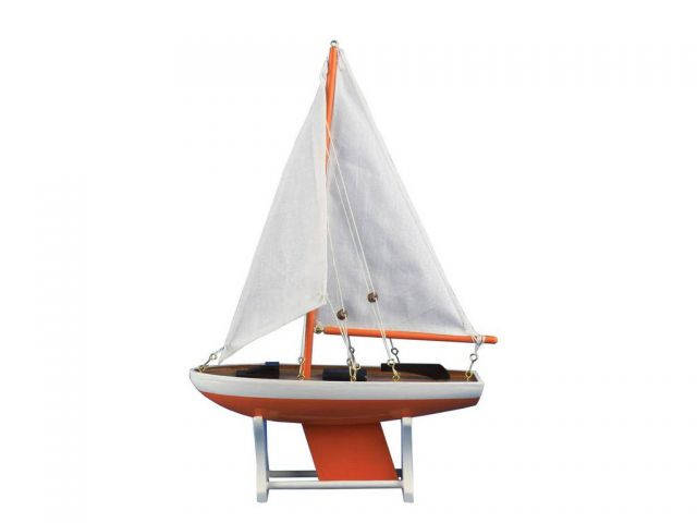 Wooden It Floats 12 - Orange Floating Sailboat Model