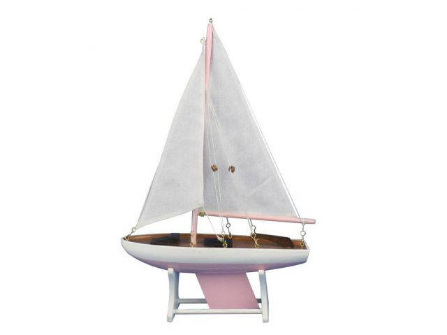 Wooden It Floats 12 - Pink Floating Sailboat Model