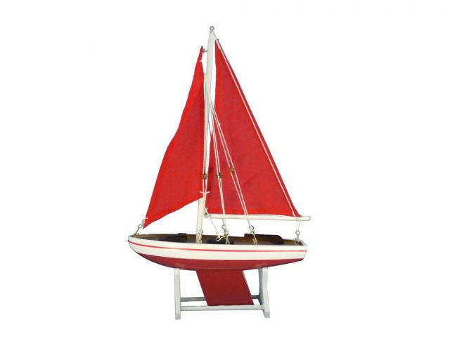 Wooden It Floats 12 - Red with Red Sails Floating Sailboat Model