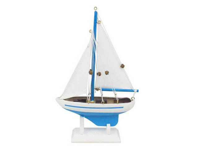 Wooden Light Blue Pacific Sailer Model Sailboat Decoration 9