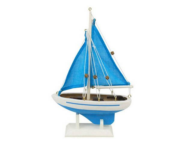 Wooden Light Blue with Light Blue Sails Pacific Sailer Model Sailboat Decoration 9