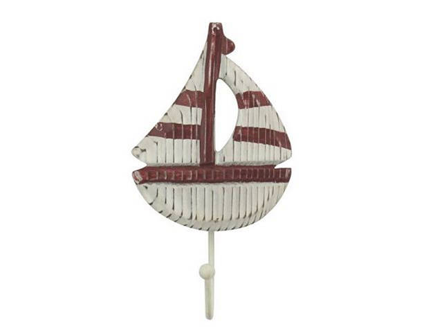 Wooden Rustic Decorative Red and White Sailboat with Hook 7
