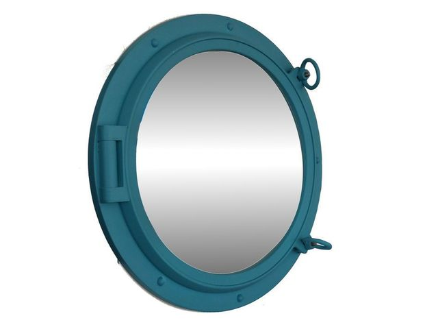 Light Blue Decorative Ship Porthole Mirror 24