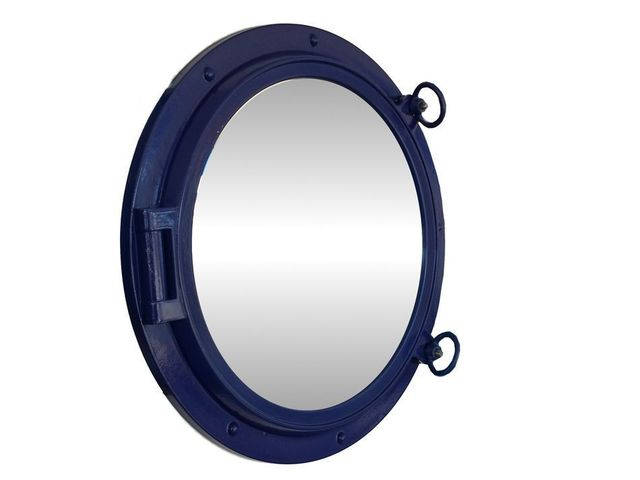 Navy Blue Decorative Ship Porthole Mirror 24