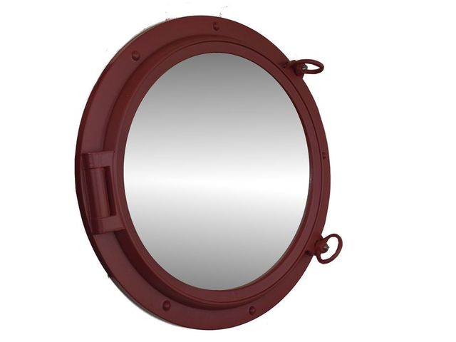 Dark Red Decorative Ship Porthole Mirror 24