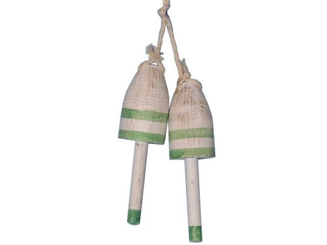 Set of 2 - Wooden Vintage Light Green Decorative Maine Lobster Trap Buoy 7