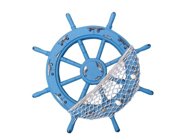 Wooden Rustic Blue Ship Wheel with Net and Shells 18
