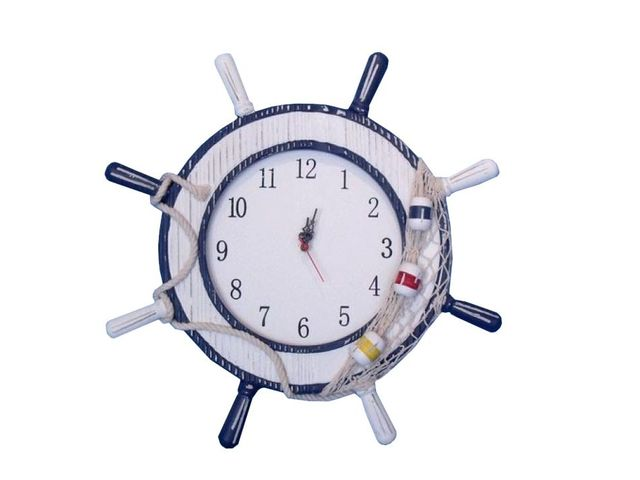 Wooden Rustic Ship Wheel Clock with Net and Buoy 12