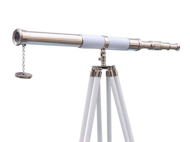 Admirals Floor Standing Chrome with White Leather Telescope 60
