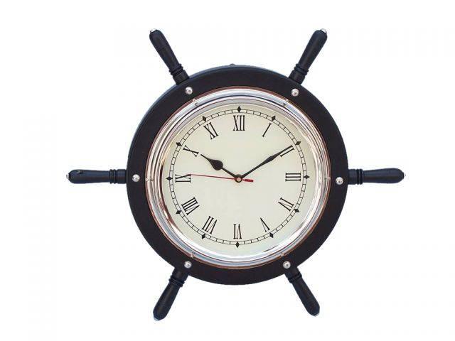 Black Wood And Chrome Ship Wheel Clock 15