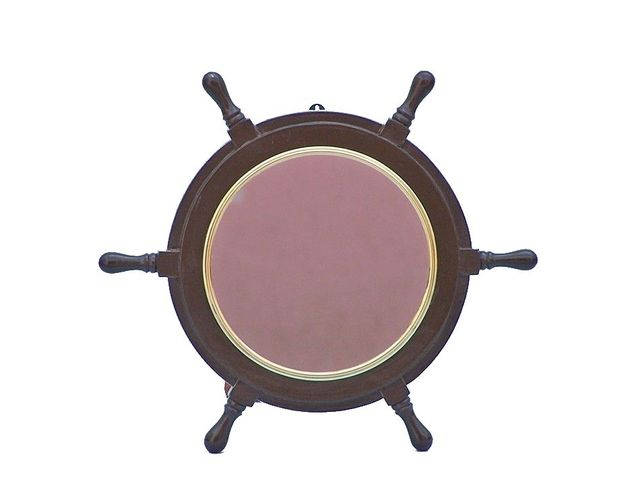Deluxe Class Wood and Brass Ship Wheel Mirror 16