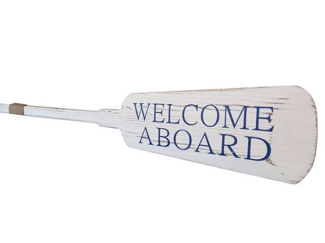 Wooden Rustic Welcome Aboard Decorative Rowing Oar with Hooks 62