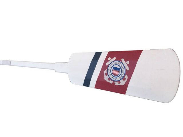 Wooden United States Coast Guard Decorative Rowing Boat Oar with Hooks 62