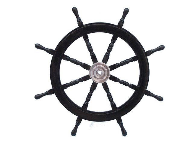 Deluxe Class Wood and Chrome Pirate Ship Steering Wheel 36