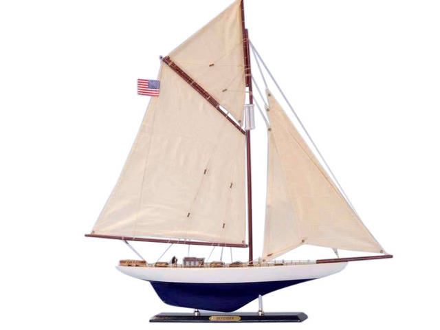 Wooden Defender Limited Model Sailboat 25