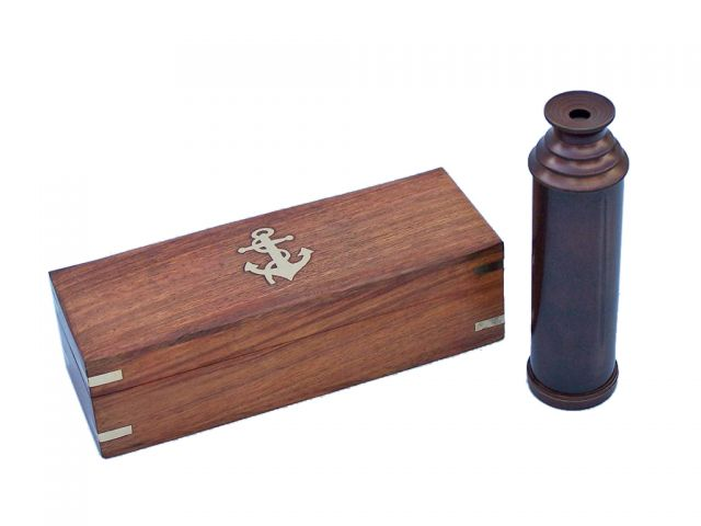 Deluxe Class Bronze Captains Spyglass Telescope With Rosewood Box 15