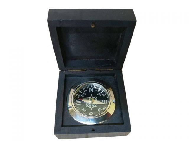 Chrome Black Desk Compass with Black Rosewood Box 3