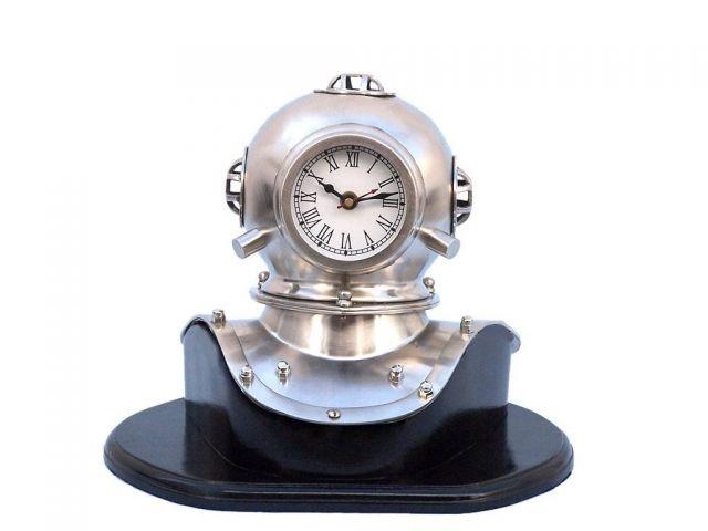 Brush Nickel Decorative Divers Helmet Clock on Black Rosewood Base 12