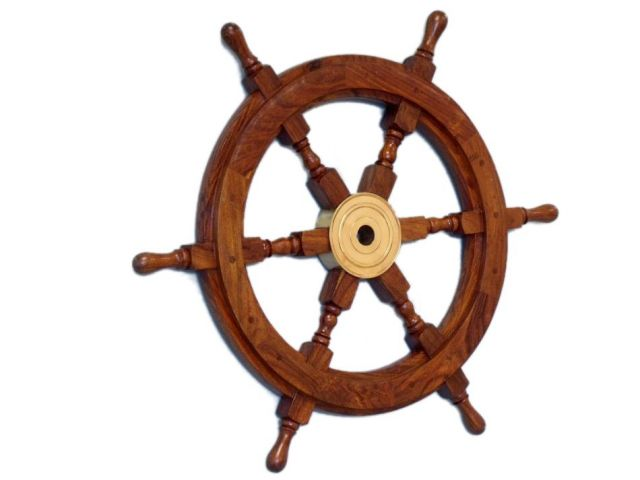 Deluxe Class Wood and Brass Decorative Ship Wheel 18